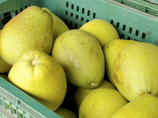 The closeup of pomelo fruit