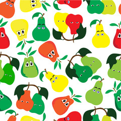 pattern of 3 types of pears of different colors