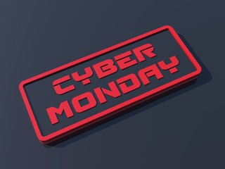 Cyber Monday 3d red icon