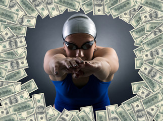 Swimmer jumping into the sea of money.