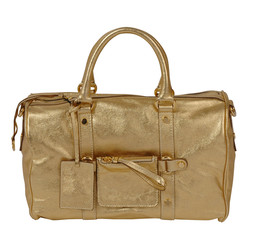 golden handbag isolted on white