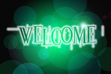 Welcome word on vintage bokeh background, concept sign