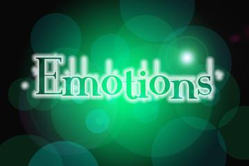 Emotions word on vintage bokeh background, concept sign