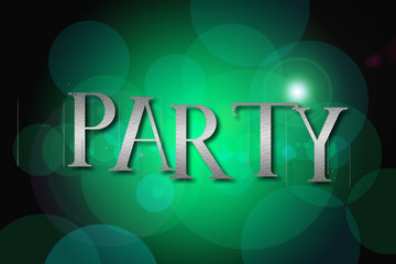 Party word on vintage bokeh background, concept sign
