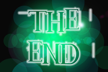 The end word on vintage bokeh background, concept sign