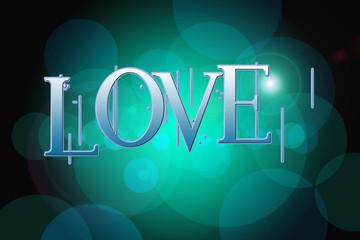 Love word on vintage bokeh background, concept sign