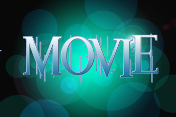 Movie word on vintage bokeh background, concept sign