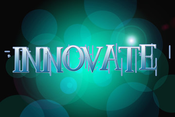 Innovate word on vintage bokeh background, concept sign