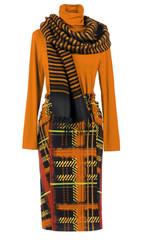 orange blouse and skirt