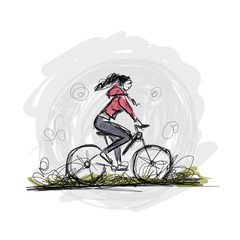 Girl cycling, sketch for your design