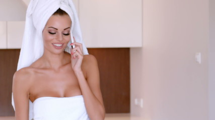Beautiful Woman Talking Mobile Phone