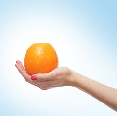 Beautiful female hands with an orange on light blue