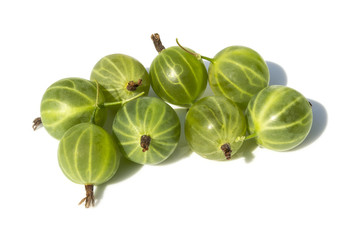 Some Gooseberries on a White Background