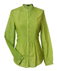 green blouse isolated on white