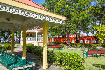 Park Benches and Gazebo in Public Park
