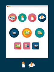 Set of  icon. Shopping, transportation.
