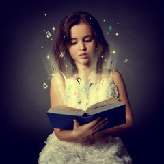 Teen girl reading the Book. Education
