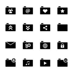 Set of various folder icons - black flat design