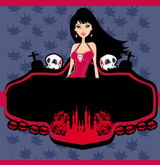 halloween invitation with beautiful witch beautiful female vampi