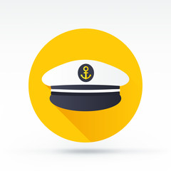 Flat style with long shadows, captain cap vector icon