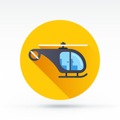 Flat style with long shadows, helicopter vector icon
