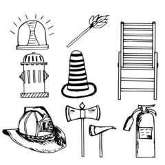 firefighter,emergency  set, doodle