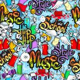 Fototapety Graffiti characters seamless pattern