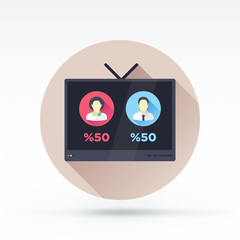Flat style with long shadows, television debate vector icon