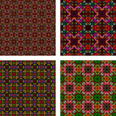 Seamless multicolor mosaic background set