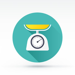 Flat style with long shadows, kitchen scale vector icon