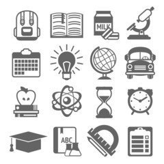 Education icons black and white
