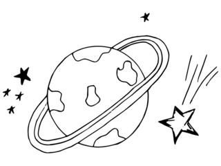 planet, space, doodle