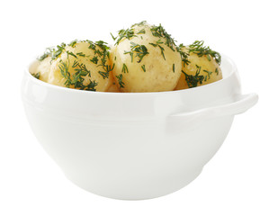 Young boiled potatoes in bowl, isolated on white