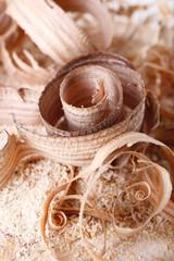 Wood shavings on sawdust closeup