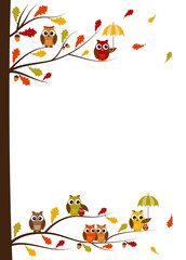 Fall owls card with space for your text