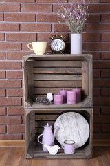 Shelves made of wooden boxes for small things for home