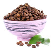 Coffee beans in big lilac bowl isolated on white