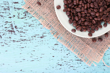 Coffee beans in white plate