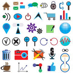 set of 35 icons on the Internet