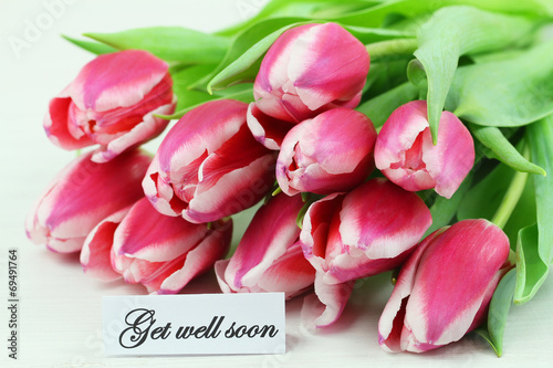 canvas print picture Get well card with pink tulips