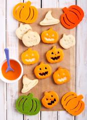 Pumpkin shape Halloween cookies
