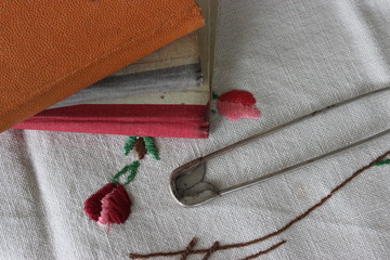 Old books with safety pin