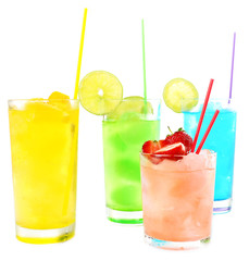 Refreshing cocktails isolated on white