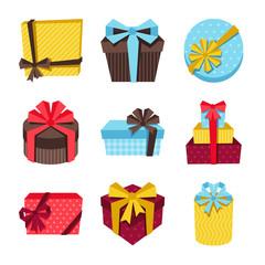 Celebration icon set of colorful gift boxes.
