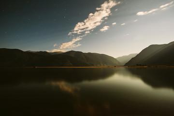 Night mountains lake