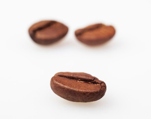 Coffee Beans isolated on white. Soft focus.