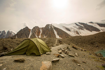 Tent on mountain top