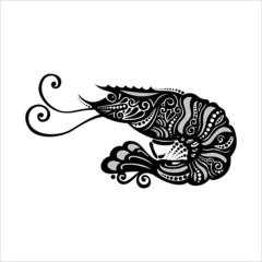 Vector Sea Shrimp. Patterned design