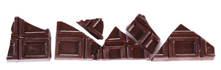 Cracked chocolate bar isolated on white