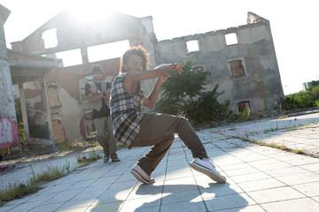 Energetic young African American hip hop dancer